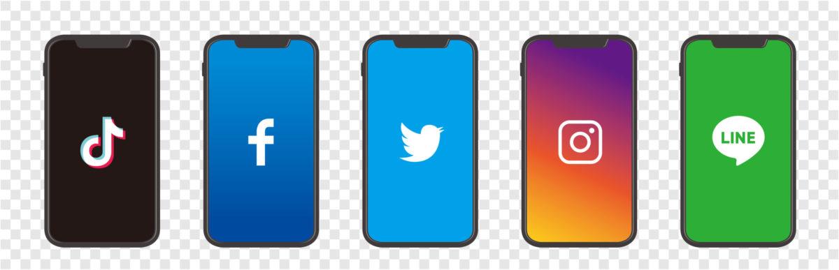 5大SNSのtwitter、instagram、facebook、tiktok、LINEを比較